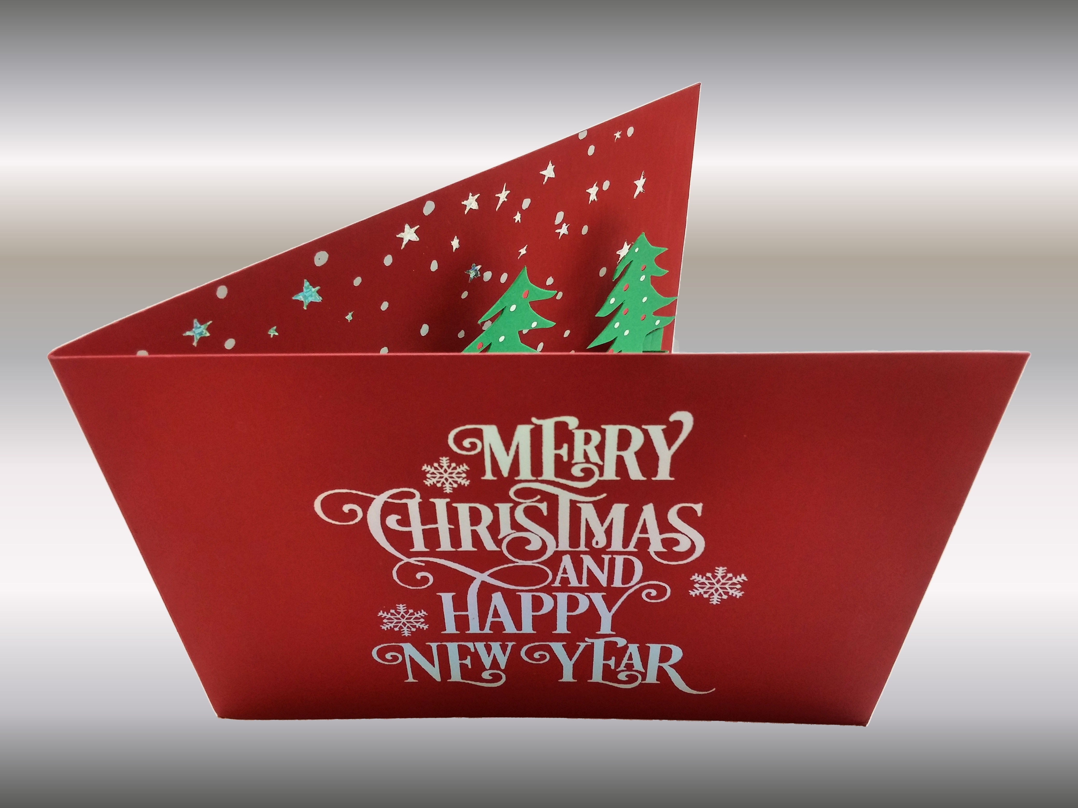3 Colors Foilstamped Diecut Christmas Card Front