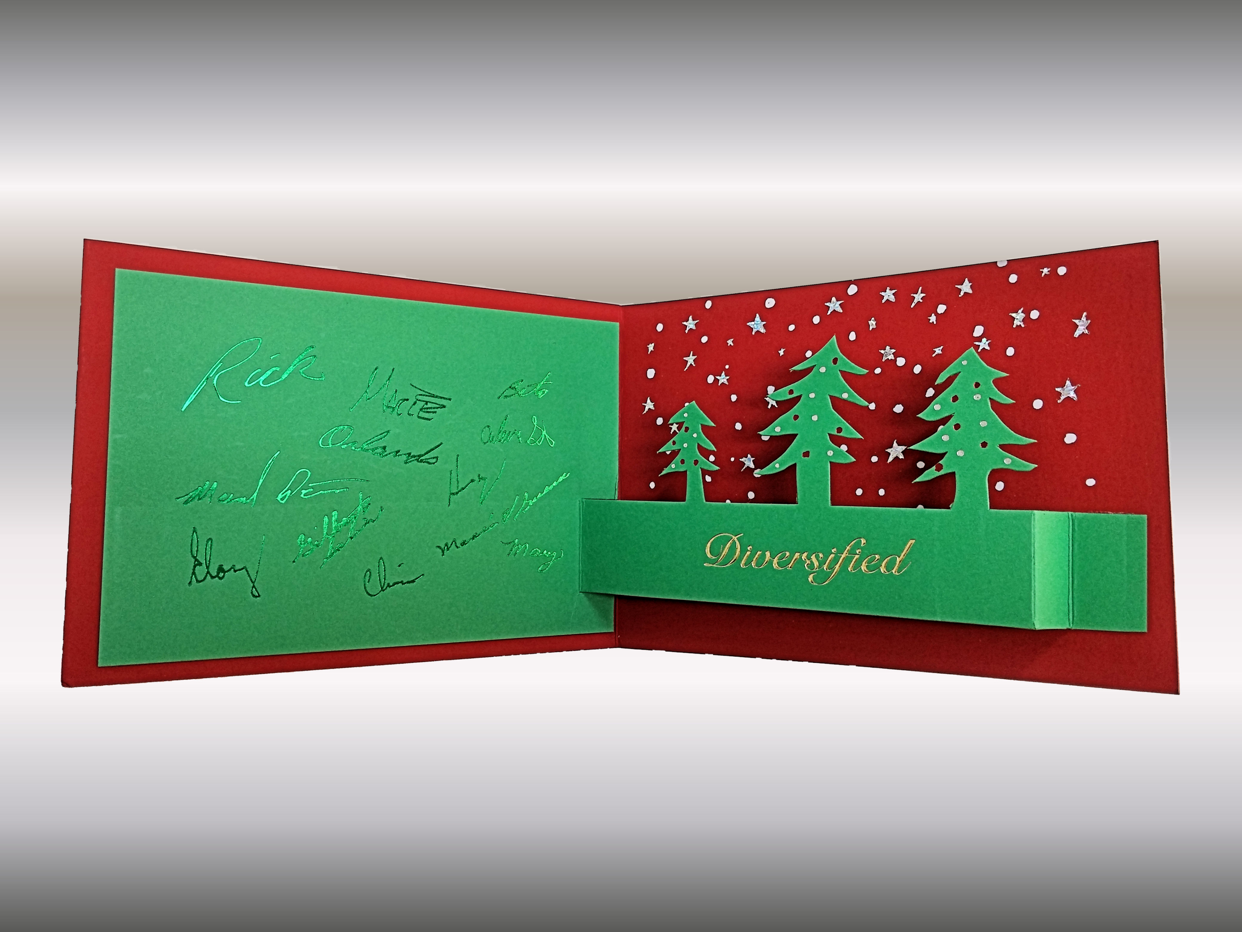 3 Colors Foilstamped Diecut Christmas Card Inside